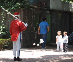 Kids fascinated by the life-sized Toy Soldier